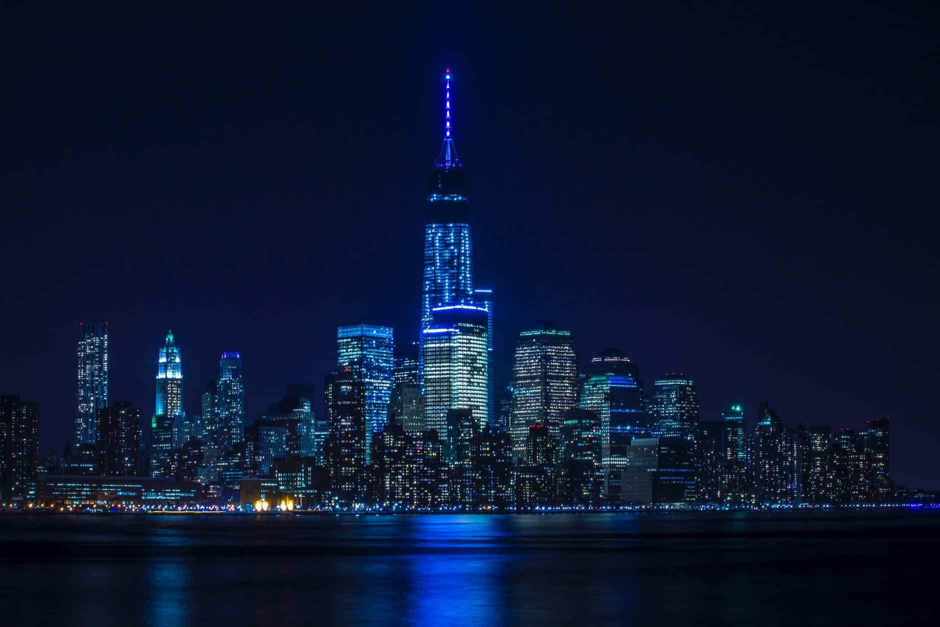 buildings with blue light